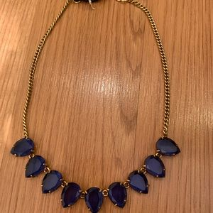 Blue crystal j crew necklace